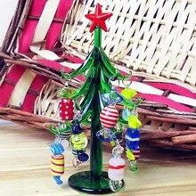 Custom Hand Blown 15cm Glass Christmas tree Figurines Christmas decoration pendant antique glass sweets sculpture ornaments X12
