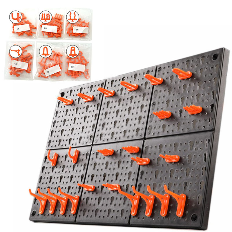 10pc/set Wall-Mounted Hardware Tool Hanging Board Hole Plate Hook Parts Storage Box Garage Unit Shelving Tool Organize Box