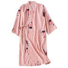 Cute Cartoon Womens Japanese Kimono Robes 2019 Summer Thin Bathrobe Soft 95% Cotton Sauna Dressing Gown Nightie Peignoir Robe