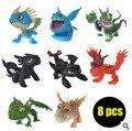 8 unids Cómo Entrenar A Tu Dragón Nocturno Furia Desdentado Dragón 2 Juguetes Figuras de Acción PVC Niños Brinquedos Juguetes Para Niños Juguetes