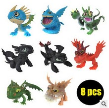 8pcs How To Train Your Dragon 2 Toys Action Figures Night Fury Toothless PVC Dragon Children Brinquedos Kids Toys Juguetes