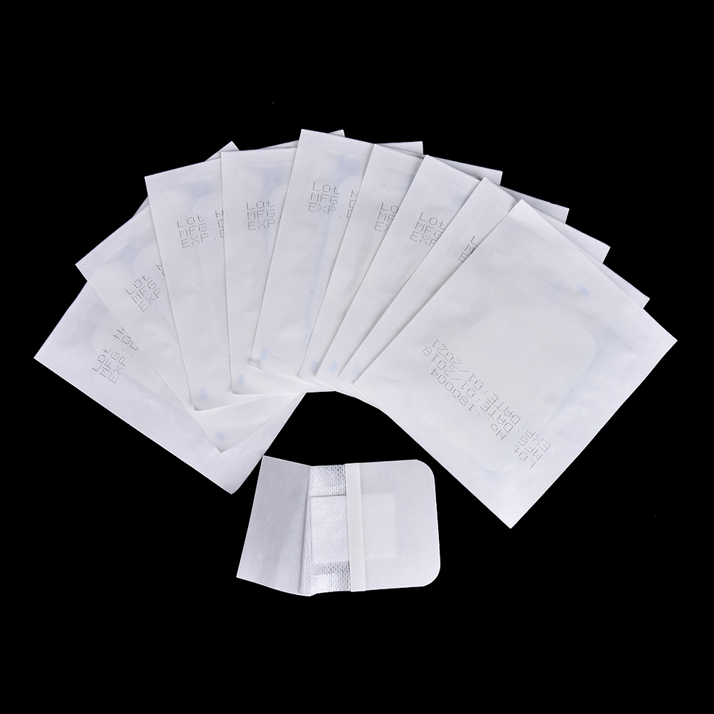 10Pcs Hypoallergenic Non-woven Medical Adhesive Wound Dressing Band aid Bandage Outdoor Large Wound First Aid Skin Care 6x7cm