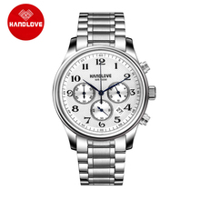 Elegant Sports Watches Stainless Steel Strap Leather Band Chronograph H4 5709G