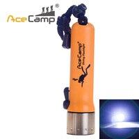 AceCamp חיצוני Cree Q5 LED 220LM צלילה פנס 50 m-100 m מתחת למים כתום עמיד למים אור מנורה (סוללה לא כלול)