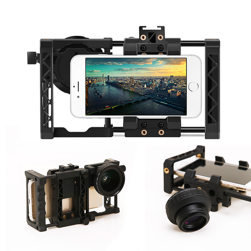 Universal Photography Stand Holder Photo Studio Kits Smartphone Astronomic Adapter With 0.45x 2-in-1 Wide Angle Lens Marco Lens