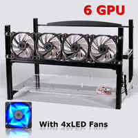 Up To 6 GPU Black Mining Frame With With 4 X LED Fans Aluminum Stackable For