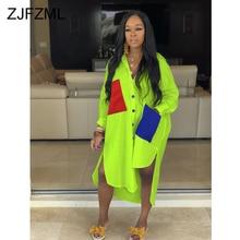 Neon Green Plus Size Casual Shirt Dress Women Turn Down Collar Long Sleeve Loose Dress  Summer Pockets Spliced Side Split Dress stylish sleeveless turn down collar spliced dress for women