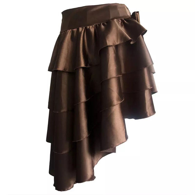 Adult Women Steampunk Goth Victorian Skirt Costume Black Golden Layer Asymmetrical High Low Waist Slimming Band Skirt For Ladies