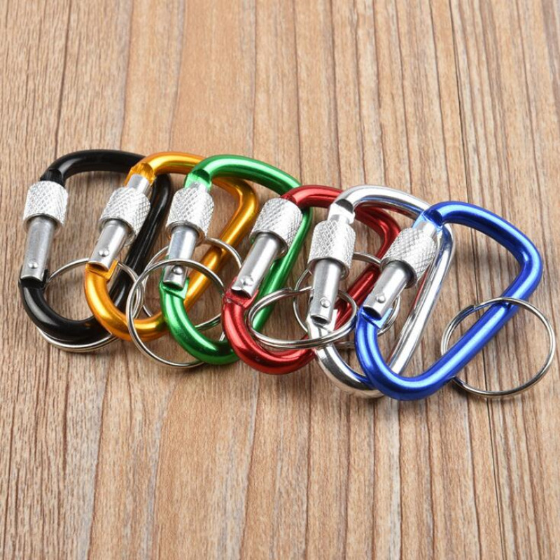 3Pcs/Lot Aluminum Snap Carabiner D-Ring Key Chain Clip With Ring Hiking Camp Mountaineering Hook Climbing Accessories