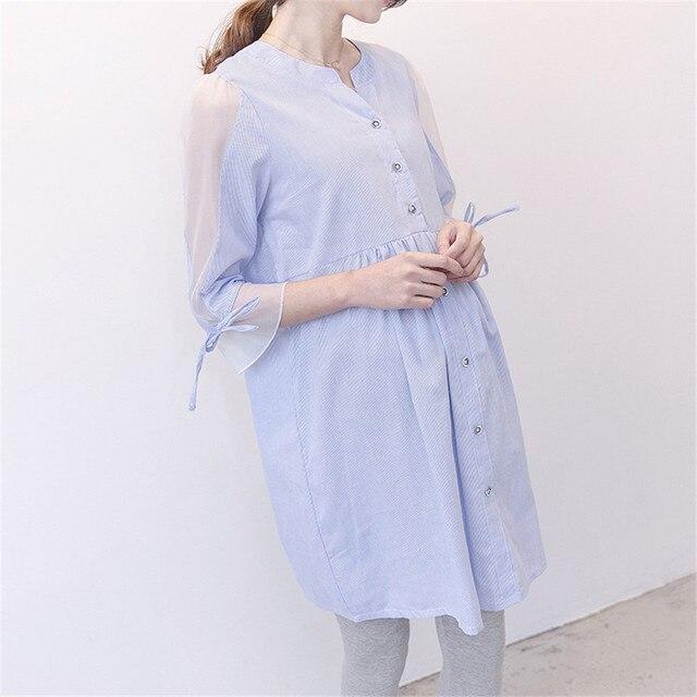 dfa73c503373 Waist Pleated Cotton Maternity Women Shirt Maternidade Summer Blouse Tops  Clothes Plus Size Pregnant Women Pregnancy Clothing
