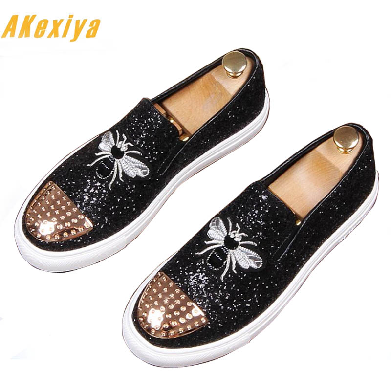 Fashion Men bees Embroidery sheet metal Trendy Casual thick bottom platform Shoes Male wedding Dress Prom moccasins loafer 1