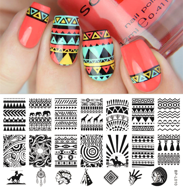 1 Pc BP Nail Stamping Plate Aztec Wave Pattern Nail Art Stamp ...