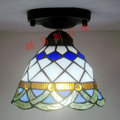 Factory Direct handsome blue corridor lighting modern kitchen balcony Tiffany glass ceiling decorated aisle Mediterranean loft style metal cage ceiling lights hotel corridor creative ceiling lamps restaurant aisle balcony kitchen for home lighting