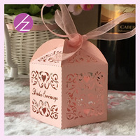 100pieces/lot Wedding Decoration Chocolate Box Candy Box Laser Cutting Gift Box For Wedding Favors Custom Names&Date With Ribbon