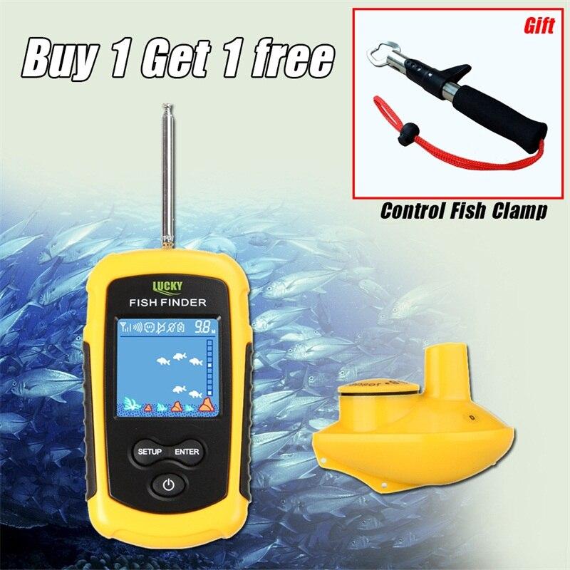 Fortunato Fish Finder Senza Fili Portatile LCD Profondità 120 m Ecoscandaglio Allarme di Pesca Finder Sonar Sensor Trasduttore Palmare RL49-0065