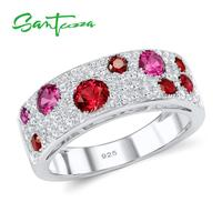 925 Sterling Silver Created Ruby Cubic Zirconia CZ Ring
