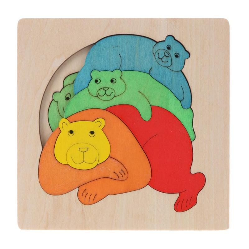 3D многослойная пазл мультфильм животных деревянные головоломки игрушка медведь многослойная деревянные головоломки Для детей обучающие и...