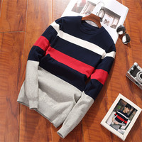 2018 autumn and winter new men's sweater Korean Slim pullover sweater men's clothes round neck trend