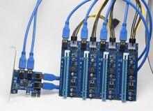 PCI-e Express 1X, Чтобы 4 Порта PCIE 16X Множитель КОНЦЕНТРАТОР Riser Card Адаптер ж/1.96ft USB 3.0 Кабель