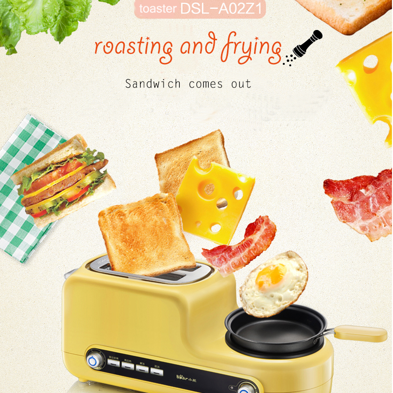 5 In 1 Breakfast Machine 2 Slices Bread Toaster Frying Egg/ Meat Multifunctional Breakfast Machine DSL-A02Z1 cukyi 2 slices bread toaster household automatic toaster breakfast spit driver breakfast machine