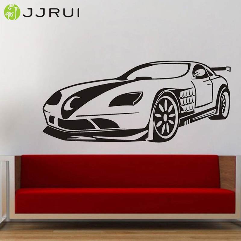 JJRUI Fashion Car Wall Decal Sport Car Wall Sticker Boys Bedroom Decor Art  Mural Home Living Part 50