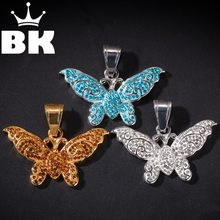 THE BLING KING Custom Colorful butterfly Necklace Hip Hop Full Iced Out Cubic Zirconia gold sliver CZ Stone(China)
