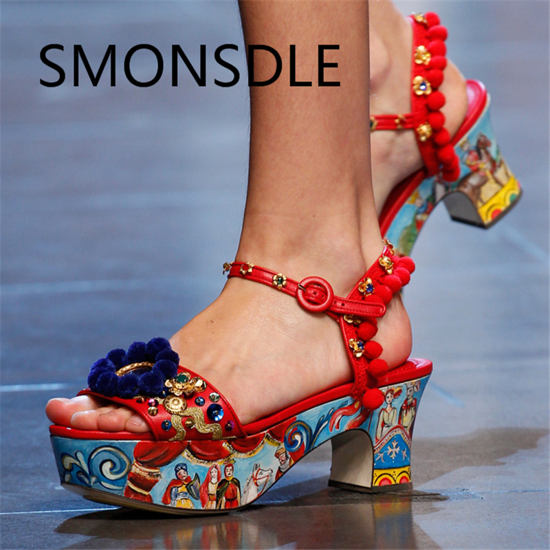 2018 New Retro Platform Shoes Genuine Leather Women Sandals Ball Top Crystal Thick High Heels Buckle Strap Summer Shoes Woman