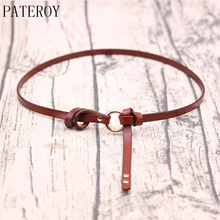купить PATEROY Thin Belt Genuine Leather Belts For Women Female Cowskin Luxury Round Metal Circle Waistband Girdle Dress Accessories по цене 725.35 рублей