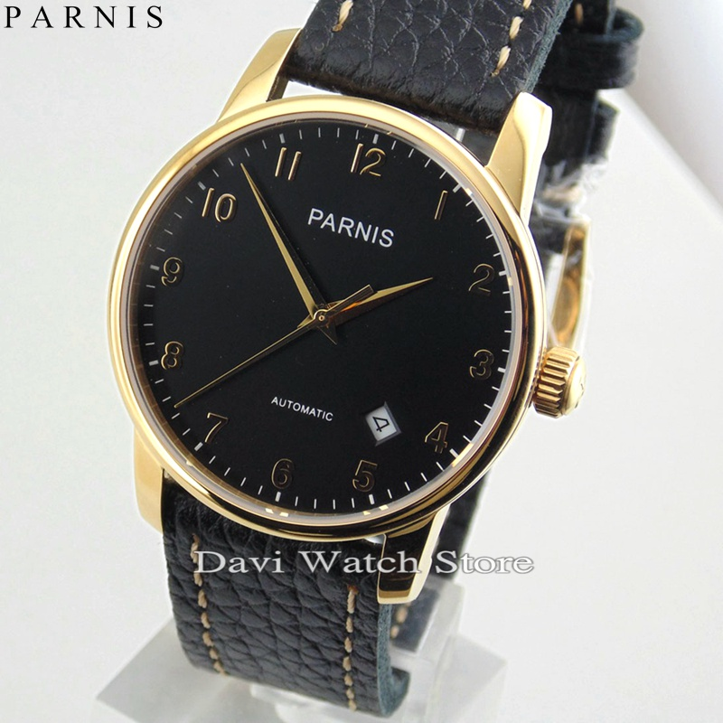 Parnis 38mm Black Dial Gold Case Miyota Automatic Date Movement Men Watch image