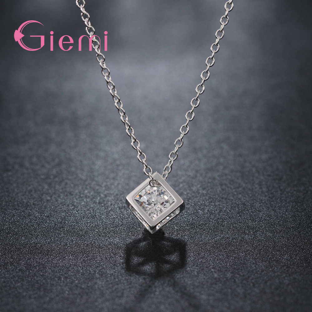 Delicate 925 Sterling Silver Jewelry With Cubic Zirconia Square Pendant Necklace Women Anniversary Lovely Gifts