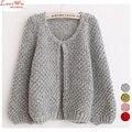 Camisa de Manga Puff lindo Mullido Suave Camisa de Tejer Suéter de las Rebecas de Las Mujeres Corto Encogimiento de hombros de Punto Suéteres de la Marca Abrigo