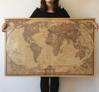 Globe World Map Poster Paper Retro Vintage Quadro de Parede Home Decor 71x46 cm 100x66 cm