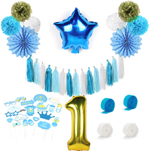 ФОТО blue1st first birthday boy party decoration set 18pcs for baby kids with birthday foil balloon photo booth props paper tassels