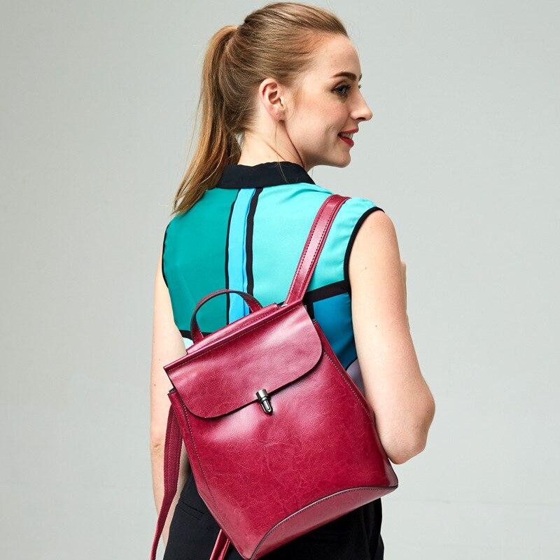 Backpack female2018  new leather Korean fashion oil wax leather backpack Korean style backpack shoulder bag mochila feminina tassel bag backpack 2018 korean new