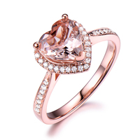 핑크 모거 나이트 약혼 반지 고체 14 천개 로즈 화이트 옐로우 골드 심장 모양 라운드 다이아몬드 헤일로 웨딩 신부 반지 여성 선물