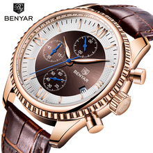 купить BENYAR Men Watches Brand Luxury Leather strap Waterproof Sport Quartz Chronograph Military Watch Men Clock Relogio Masculino дешево
