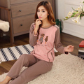 HOT spring otoño mujeres conjuntos de pijamas de punto de algodón de señora girls trajes pijama de dormir adultos chándal ropa para el hogar de color café