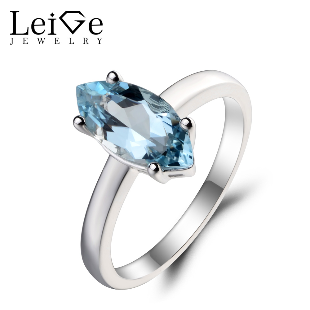 Leige Jewelry Wedding Ring Natural Aquamarine Ring March Birthstone Solitaire Ring Marquise Cut Gems 925 Sterling Silver Ring