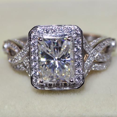 1 8 Carat Radiant Cut Halo Engagement Wedding Lab Grown Moissanite Diamond Ring Set Test Positive