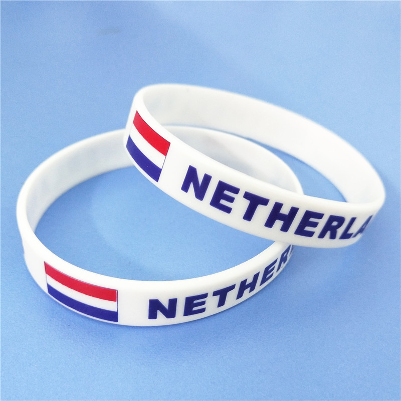 1PC Netherlands Flag Silicone Wristband White Nederlands Football Sports Souvenir Silicone Rubber Bracelets&Bangles Gifts SH223 1