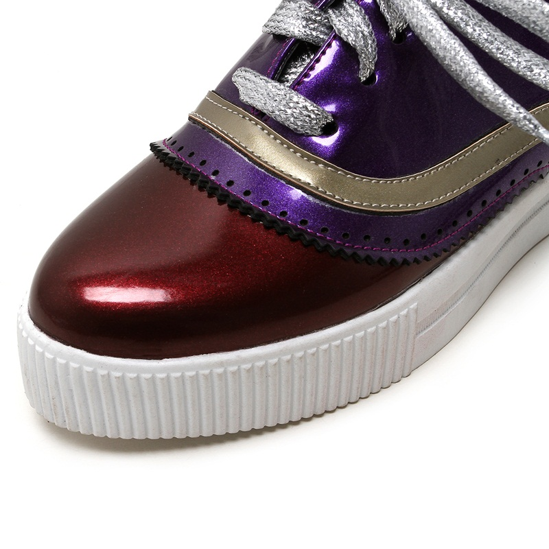 Verni Couleur En Chaussures Printemps Grande Appartements forme Mocassins Mode Femmes Mixte red Plate Taille Orange Automne Sécurité Cuir purple Confortable Facndinll ZTqOq
