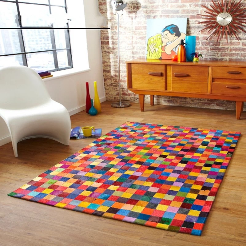 Rainbow Colorful Chequer Luxury Cowhide Seamed Rug
