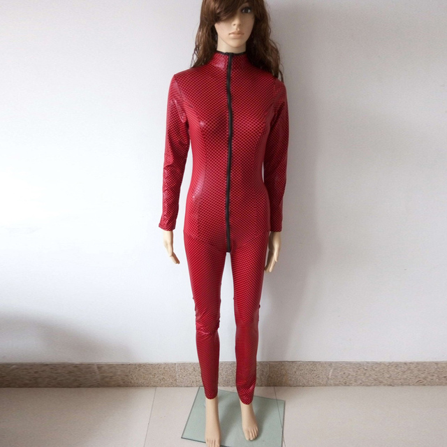 Leather Latex Catsuit Clubwear With Zipper to Crotch