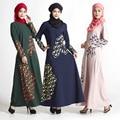 Caftan Djellaba Formal 2016 Adulto Algodão Broadcloth New Hot Venda Islâmico Saudita Vestido Nacional Feminino Vestido Estampado de Penas