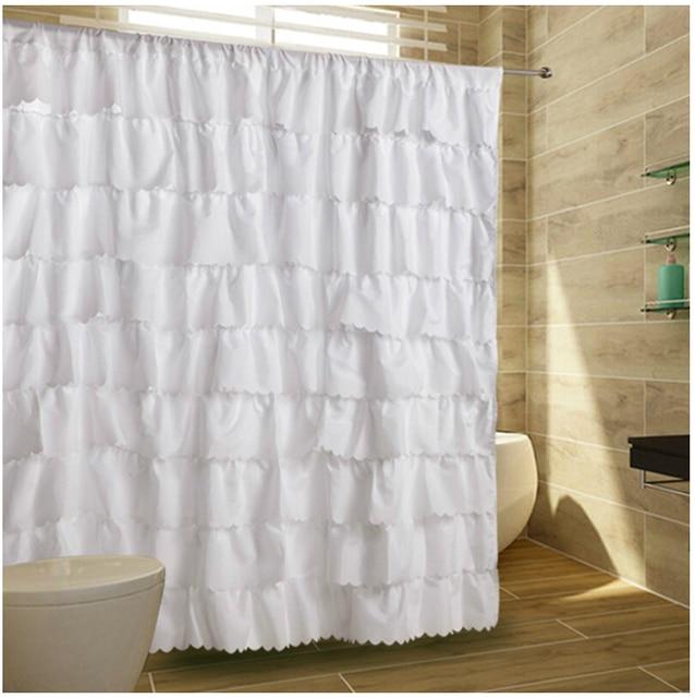 72X72High Grade Ruffle Tier Fabric Shower Curtain Bathroom Elegant Layered Cascading Hookless
