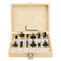 12Pcs 8mm Router Bit Set Shank Tungsten Carbide Rotary Tool With Wood Case Box For Woodworking