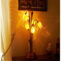 Цветы настольная лампа Винтаж классический личности Стекло Книги по искусству деко настольная лампа Гостиная Спальня прикроватный свет Ли