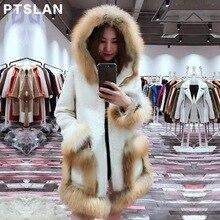 Ptslan Women Alpca Sheep Fur Coat Fashion Women Wool Coat Fox Fur Collar Long Sheep fur