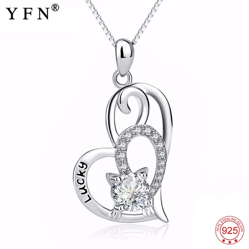 Genuine 925 Sterling Silver Jewelry Love Heart Pendants Necklaces Lucky Cat CZ Crystal Necklace Fashion Gift For Women GNX13907 fashion custom lettering 925 silver love heart shaped couple necklace peach heart pendants for men and women yp3196
