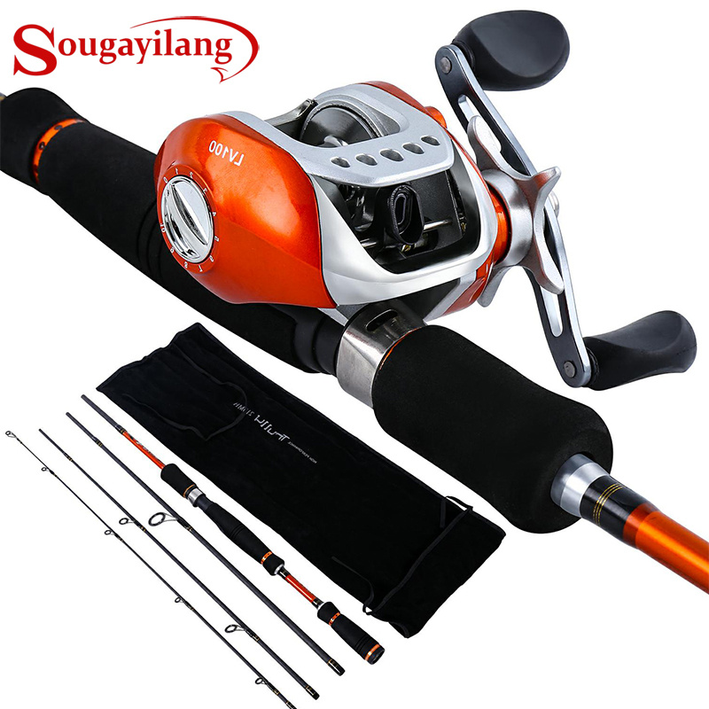 Sougayilang 2.1 2.7M Fishing Rod Reel Combo 4Sections Carbon Fiber Fishing Rod with 10+1BB 6.3:1 Baitcasting Reel Pesca|Fishing Rods| |  - title=